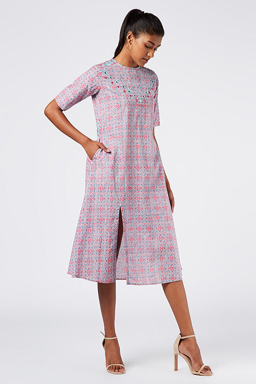 Okhai 'Faerie' Embroidered Cotton Hand Block Print Kurta