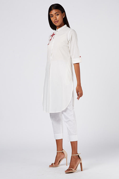 "Okhai ""White Lily"" Embroidery Work Kurta"
