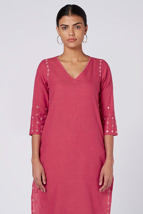 Okhai 'Zinnia' Embroidered Red Cotton Handloom Kurta