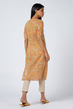 Okhai 'Orange Carnation' Cotton Mul Appliqué Kurta