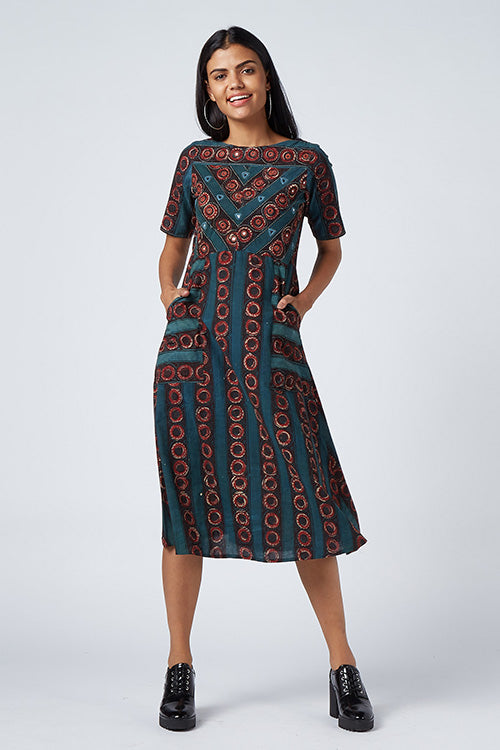 Okhai 'Summer Gala' Block Print Cotton Dhabu Dress