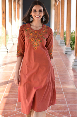 Okhai 'Love Blossoms' Cotton Handloom Kurta