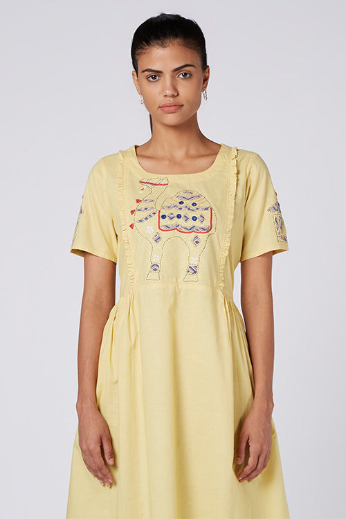 Okhai 'Camel Safari' Reverse Appliqué Organic Cotton Cambric