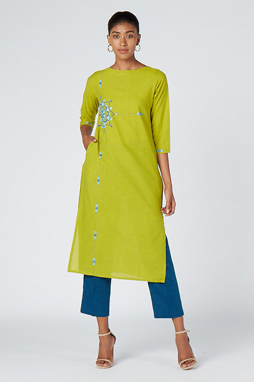 Okhai 'Unique Vision' Embroidered Cotton Kurta