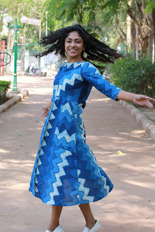 "Okhai ""Ocean Holiday"" Indigo Dhabu Dress"