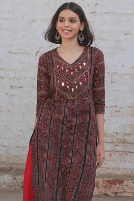 Okhai 'Rich Wine' Block Print Kurta