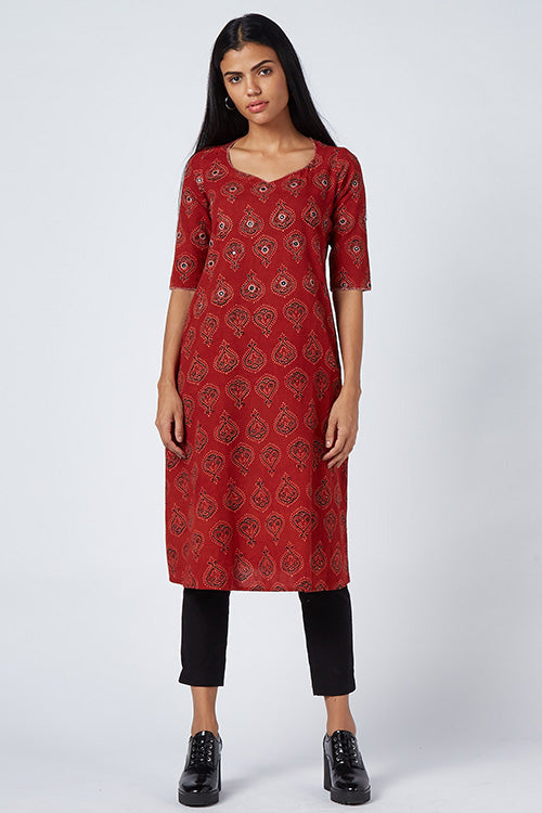Okhai 'Red Bouquet' Embroidered Cotton Dress