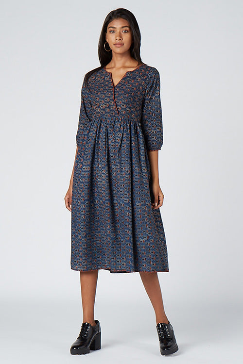 Okhai 'Adira' Embroidered Cotton Hand Block Print Dress
