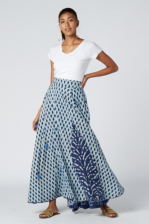 Okhai 'Blue Star' Appliqué Cotton Indigo Dhabu Skirt