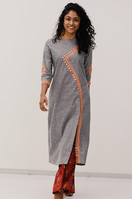 Okhai 'Magnetic Magic' Cotton Embroidered Kurta