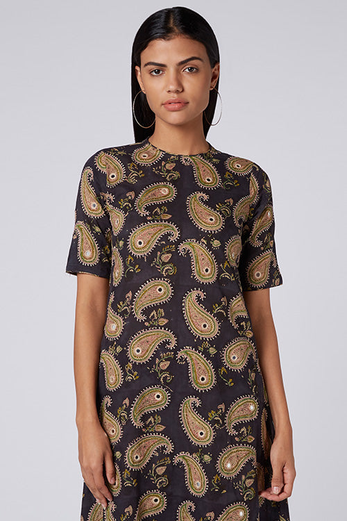 Okhai 'Paisley Flair' Cotton Hand Block Print Dress