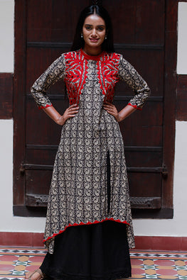 "Okhai ""The Warrior"" Applique Work Kurti"