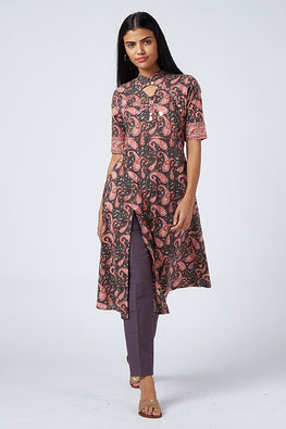 Okhai 'Desyre' Embroidered Cotton Hand Block Print Kurta