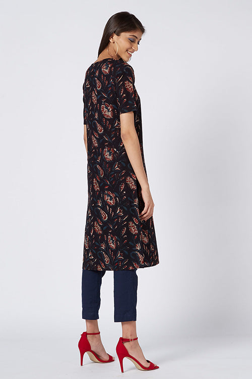 Okhai 'Noir' Embroidered Cotton Mul Mul Kurta