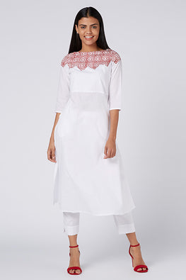 Okhai 'Tiara' Khadi Accent Cotton Cambric Kurta