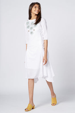 Okhai Bora Bora Hand Embroidered Organic Cotton Dress For Women Online