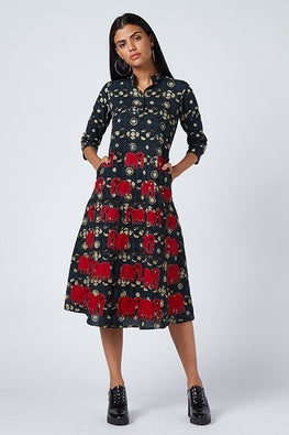 Okhai 'Handicraft Vision' Appliqué Cotton Dress