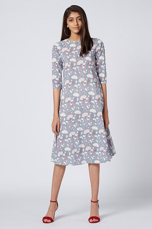 Okhai 'Serenitas' Cotton Hand Block Print Dress