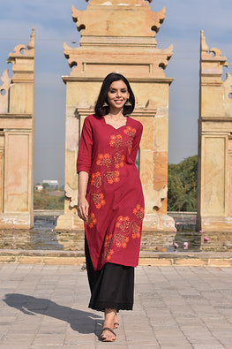 Okhai 'Garden Of Love' Cotton Kurta