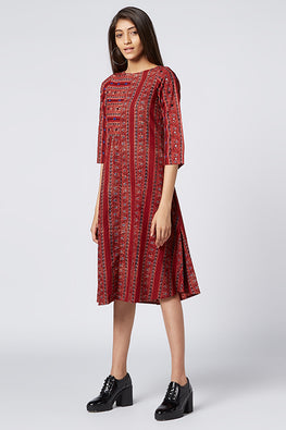 Okhai 'Shyra' Cotton Ajrakh Embroidered Dress
