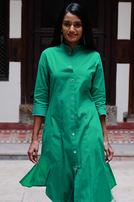 "Okhai"" Green Sea"" Embroidery Work Kurtav"