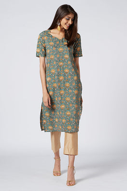 Okhai 'Frida' Embroidered Cotton Hand Block Print Kurta