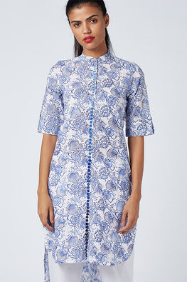 Okhai 'Waterfall Flowers' Block Printed Kurta