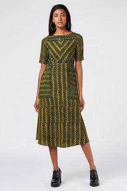 Okhai 'Tree Sister' Block Print Cotton Dhabu Dress