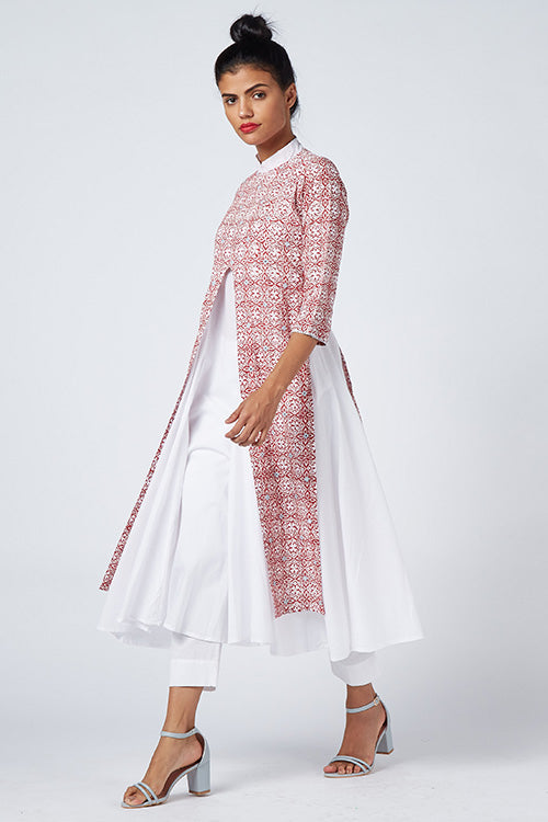 Okhai 'Fresh Flowers' Khadi & Cambric Layer Kurta