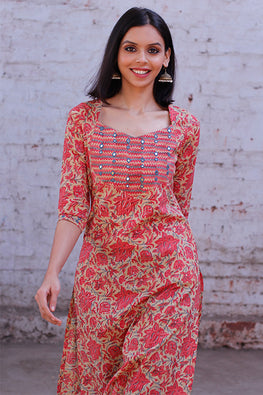 Okhai 'Grace' Embroidered Hand Block Print Cotton Kurta
