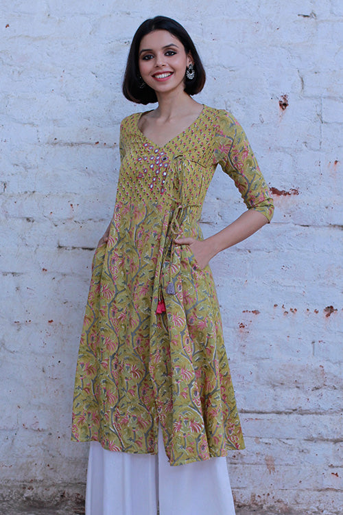 "Okhai ""Fall Flowers"" Hand Block Printed Dress"