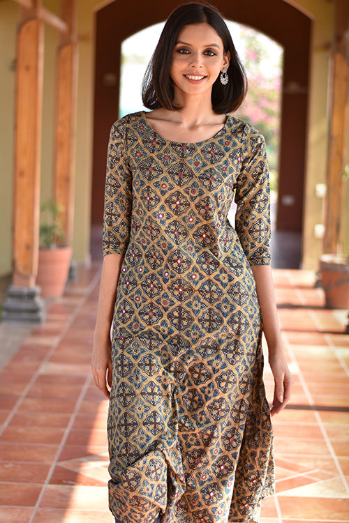 Okhai 'Magic Blooms' Ajrakh Cotton Dress