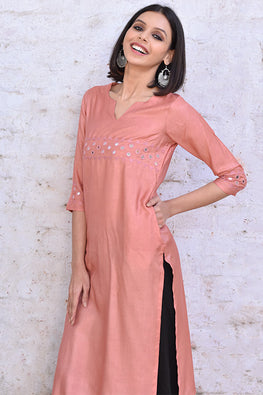 Okhai 'Peach Pearl' Embroidered Tussar Silk Kurta