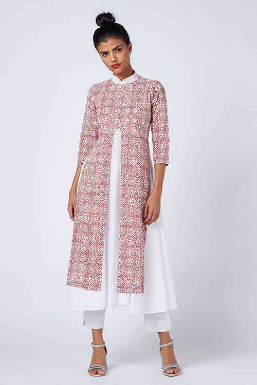 Okhai 'Fresh Flowers' Khadi & Cambric Layer Dress