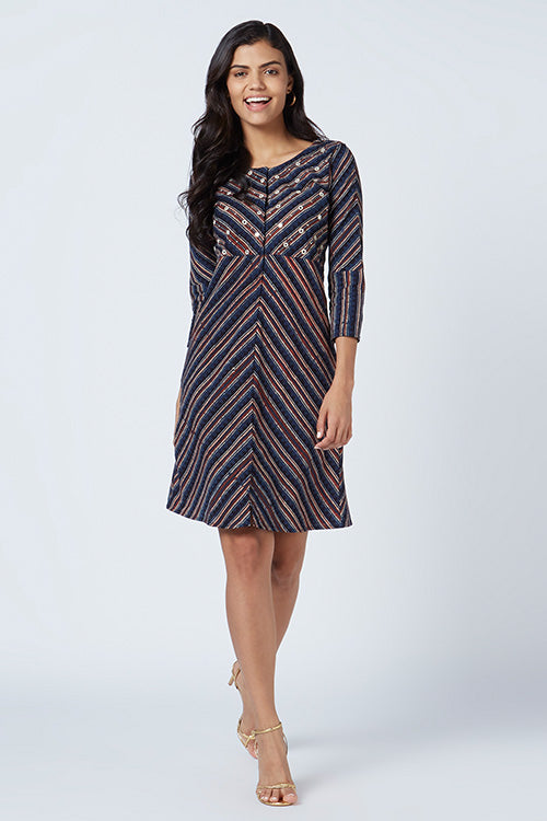 Okhai 'Aristocrat' Cotton Hand Block Print Dress