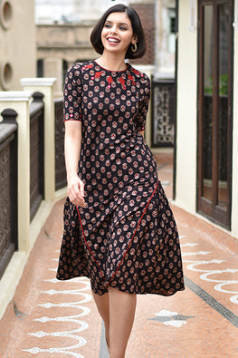 "Okhai ""Tribal Tale"" Block Printed Dress"