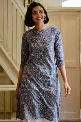 "Okhai ""October Flowers"" Hand Block Printed Kurta"