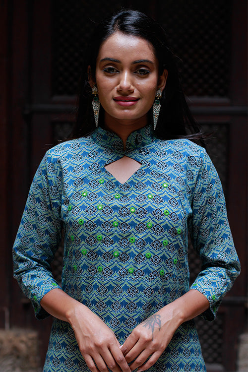 "Okhai ""Indigo Flowers"" Mirror Work Kurta"