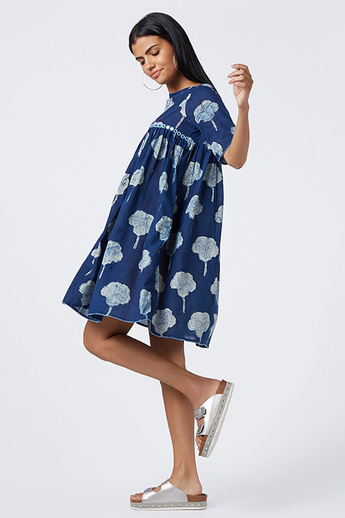Okhai 'Indigo Summer' Cotton Mul Dress