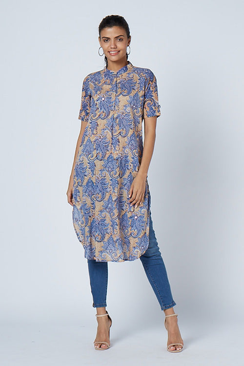 Okhai 'Iris' Embroidered Cotton Hand Block Print Kurta