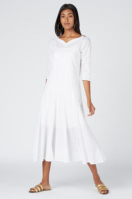 Okhai Selena Cotton White Chikankari Dress For Ladies Online