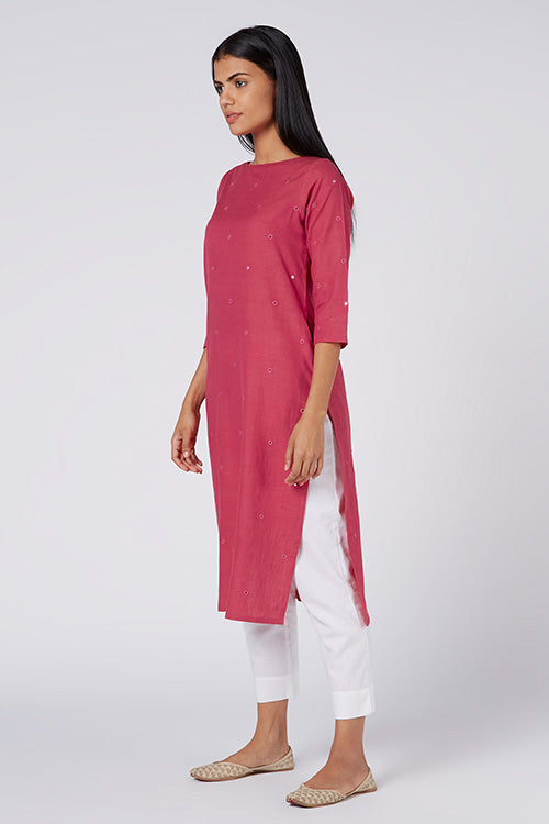 Okhai 'Topaz' Embroidered Cotton Handloom Kurta