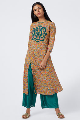 Okhai 'Mystic Spirit' Appliqué Cotton Handloom Kurta