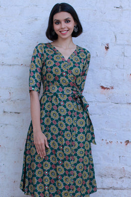 "Okhai ""Vintage Chic"" Block Print Wrap Dress"