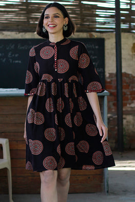 "Okhai ""Mandala Muse"" Mirror Work Rayon Dress"