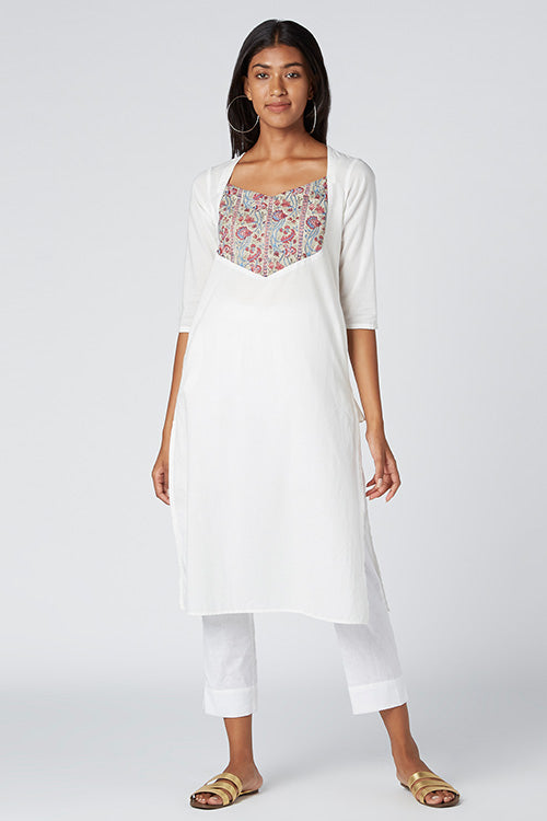 Okhai 'Peonies' Cotton Cambric Hand Block Print Accent Kurta