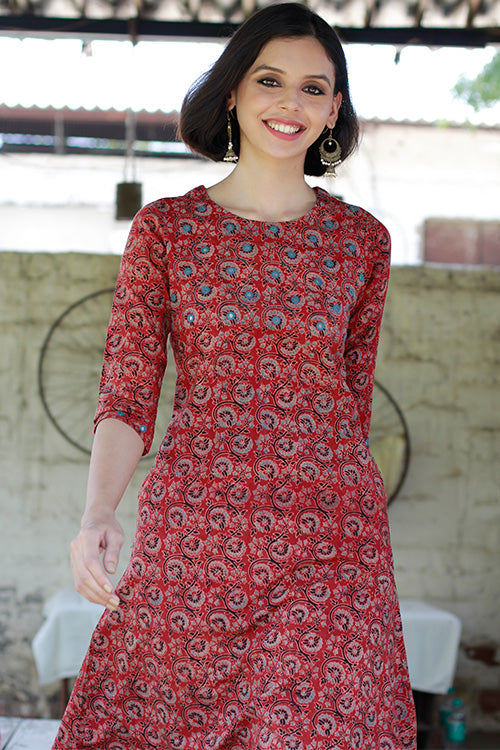 "Okhai ""Warm Rouge"" Ajrakh Dress"