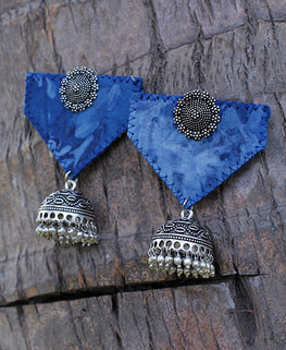 Okhai 'Ethnic Chic' Blue Handmade Earrings