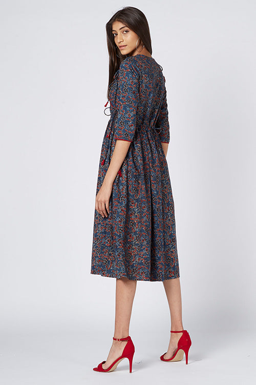 Okhai 'Leah' Cotton Hand Block Print Dress