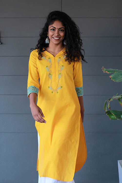 "Okhai ""Morning Sun"" Embroidery Work kurti"